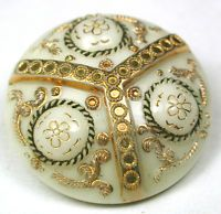"""Antique Victorian Glass Button 3 Domes w/ Flowers Gold Luster & Paint 13/16"""""""
