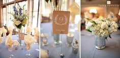 WEDDING DETAILS: centerpiece in creams & blues with silver accents Forest Creek Golf Club