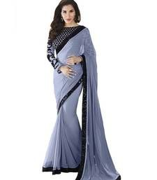 Buy Gray embroidered Georgette saree with blouse party-wear-saree online