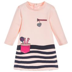 With stripes and pretty pocket prints, this pink dress by Little Marc Jacobs is a lovely choice for little girls. Made in soft and stretchy cotton jersey, it is super comfortable and easy to wear, and the handy poppers at the back make dressing quick and easy.