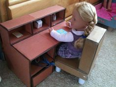 American Girl doll desk made from cardboard and construction paper