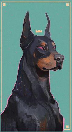 ArtStation - King Dobermann, François Bourdin Source by gavdude. Animal Drawings, Art Drawings, Drawing Animals, Fox Drawing, Pencil Drawings, Art Design, Design Poster, Design Ideas, Aesthetic Art