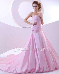 Drop Waist Wedding dresses Strapless Chapel Train Taffeta Satin Pink 010010700577