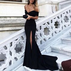 Sexy Leg Slit Long Mermaid Evening Dress, Off Shoulder Prom Gowns, Jersey Mermaid Evening Gowns, Black Prom Dresses Elegant Dresses, Pretty Dresses, Beautiful Dresses, Long Dress Formal, Black Formal Gown, Formal Dresses Long Elegant, You're Beautiful, Formal Gowns, Dance Dresses