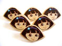 dora the explorer cookies - Yahoo Image Search Results Cookies For Kids, Sweet Cookies, Cute Cookies, Yummy Cookies, Sugar Cookies, Dora Cake, Cartoon Cookie, Cupcakes, Character Cakes