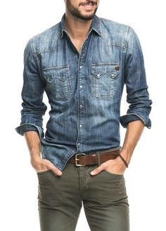 dark denim shirt, brown leather belt, navy green pants: