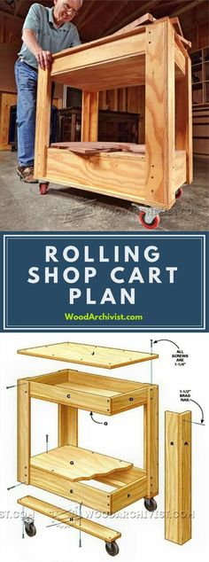 Rolling Shop Cart Plans - Workshop Solutions Projects, Tips and Tricks | WoodArchivist.com #woodworkingplans