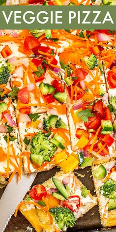 The easy cold veggie pizza is the perfect appetizer recipe! Crispy yet soft crescent roll dough topped with a creamy ranch spread and then loaded with fresh crunchy veggies. Supper Recipes, Entree Recipes, Top Recipes, Sweets Recipes, Pizza Recipes, Appetizer Recipes, Easy Delicious Recipes, Amazing Recipes, World's Best Food