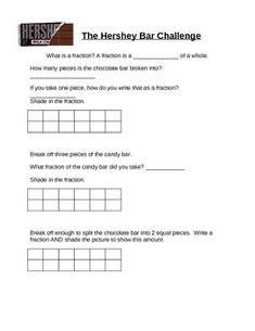 This is a hands-on math activity... Students use a Hershey chocolate bar to experience fractions.  Use these worksheets to guide your students into...