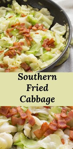 Southern style fried cabbage with bacon and onions is a quick, easy, and economical meal. Bacon, onions, and cabbage are cooked just until tender. Perfect for quick weeknight meals or a simple side dish option. Fried Cabbage With Sausage, Fried Cabbage Recipes, Southern Fried Cabbage, Sauteed Cabbage, Cabbage And Bacon, Cabbage Soup, Southern Side Dishes, Side Dishes Easy, Veggie Food
