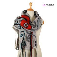 nuno felted scarf Art Nouveau II  silk and wool nuno by inmano, $113.00