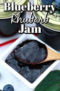 Blueberry Rhubarb Jam is so delicious with garden fresh rhubarb and summer blueberries. It is accomplished easily not even having to use pectin. Blueberry Rhubarb Jam, Breakfast Smoothies, Unique Recipes, Nutritious Meals, Yummy Treats, Holiday Recipes, Good Food, Tasty, Snacks