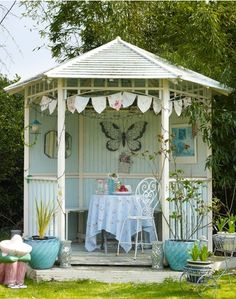 Cottage ♥ Pale blue garden house