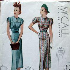 Annata 1936 Womens Dress Pattern con manicotto Ruching busto frontale unico 3 stili Sz14 McCall 9594 by kalliedesigns on Etsy