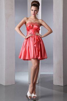 Taffeta A-Line Strapless Graduation Dresses sfp0899 - http://www.shopforparty.com/taffeta-a-line-strapless-graduation-dresses-sfp0899.html - COLOR: Orange; SILHOUETTE: A-Line; NECKLINE: Strapless; EMBELLISHMENTS: Beading , Sash , Crystal , Ruched , Sequin