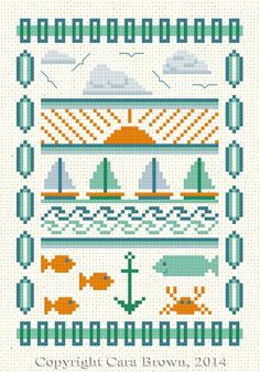 Sailboats Cross Stitch Sampler Pattern Download cute modern design fish ocean…