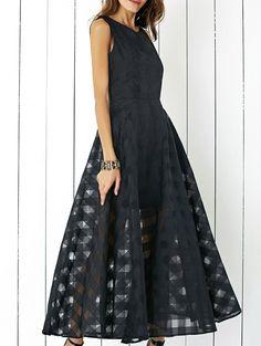 Stylish Sleeveless Plaid Organza Layered Maxi Dress For Women