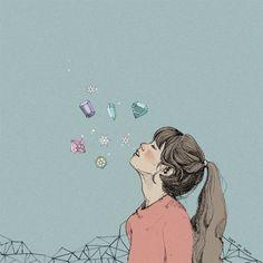 입김 속에 겨울이 있어요 :) Korean Illustration, Watercolor Illustration, Aesthetic Drawing, Korean Art, Cute Icons, Anime Art Girl, Cartoon Art, Cute Art, Illustrators