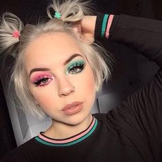 SUPER KAWAII ✌🏻✌🏻Our girl is rocking a lovable look using in shade 'Princess Cut' with our timeless palette. She sealed it off with our shade 'Celebrity Skin' on her lips💋👄 Goth Makeup, Clown Makeup, Beauty Makeup, Hair Makeup, Hair Beauty, 80s Makeup, Makeup Shop, Makeup Goals, Eyeshadow Makeup
