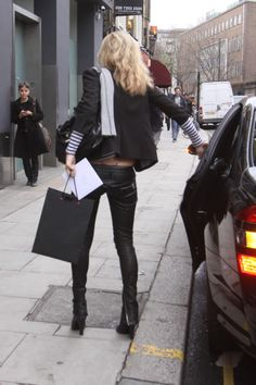 Kate Moss in leather trousers