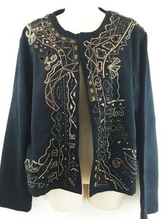 Chicos 3 Jacket Embroidered Metallic Bronze Cut-Out Trim Open Front 16 18 L XL…