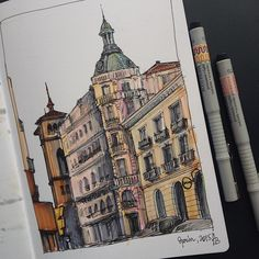 Spain one #art #drawing #marker #copic #promarker #liner #fabercastell #leuchtturm1917 #sketch #sketchbook #spain #architecture #building #spring #artwork