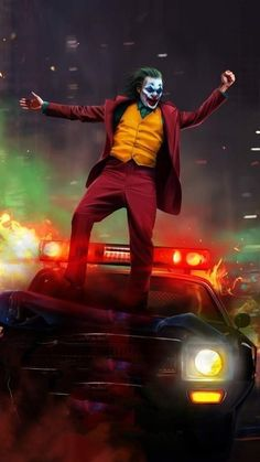 Joker Fire Dance Canvas Wall Art, An iconic Joker Desing of the Actor Joaquin Phoenix . Our Joker Canvas prints are Unique and original Printed in HD! Comic Del Joker, Le Joker Batman, Batman Joker Wallpaper, The Joker, Joker Iphone Wallpaper, Joker Heath, Joker Wallpapers, Marvel Wallpaper, Batman Art