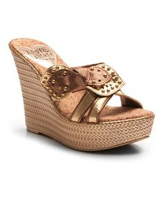 Gold Claudia Leather Wedge Sandal #zulily #zulilyfinds