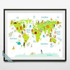 Animal World Map World Map Print Animal Map Animal by VocaPrints