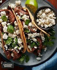 Family fiestas just got easier. Made with steak, taco seasoning, and CRACKER BARREL Crumbled Feta Cheese, you can whip up this tasty weeknight dish in just 20 min. Tap or click photo for this Easy Steak & Feta Tacos #recipe.