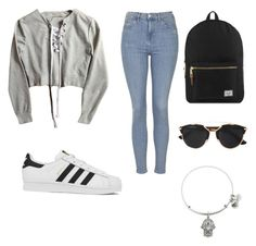 """Untitled #13"" by francescam3101 on Polyvore featuring Topshop, adidas, Herschel Supply Co., Christian Dior and Alex and Ani"