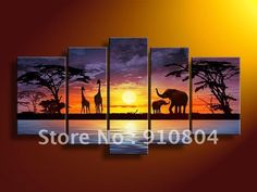 Hand Painted Modern Abstract Oil Painting On Canvas Wall Art Deco Home Decoration African Grassland Giraffe Animal 5 Pic/Set Stretched Ready To Hang Hand Painted Walls, Painted Wood, Painted Canvas, Art Deco Home, Oil Painting Abstract, Oil Paintings, African Art, African Animals, Painting Inspiration
