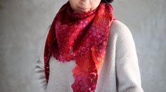 Cobweb felted shawl merino wool and turquoise by AureliaFeltStudio