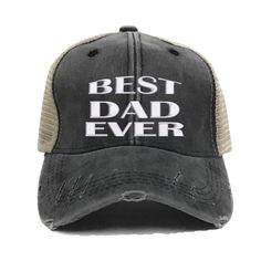 d1a493f5 Custom Hats - Best Dad Ever - Father's Day Gift - Distressed Trucker Hat -  Men - Embroidered - Baseball Cap - Funny Hats - Vintage