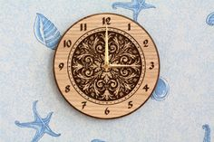 "Wood carved wall clock ""Arabesque"""