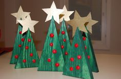 Christmas trees. Joulukuuset Christmas Tree Star, Kids Christmas, Christmas Crafts, Christmas Ornaments, Diy For Kids, Crafts For Kids, Arts And Crafts, Preschool Christmas, Merry Xmas