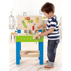 Little carpenters, plumbers, mechanics, and all-around handymen will find lots to love with Hape's Master Workbench. The workbench comes with everything a home handyman needs but elbow grease. Along with a height-adjustable workbench counter for growing builders, this 32-piece Master Workbench comes with a hammer, saw, screwdriver, wrench, vice, angle, screws, nuts, bolts, gears, links, and more.