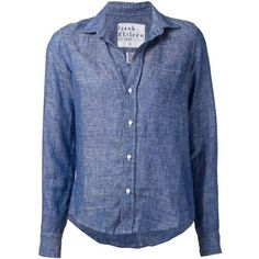 Frank & Eileen Chest Pocket Shirt ($178) ❤ liked on Polyvore featuring tops, blue, blue top, frank & eileen shirts, linen shirt, linen tops и frank & eileen