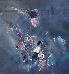 Peinture moderne acrylique et matière Bleu Vert Violet effet Nacré : Peintures par stephanie-menard
