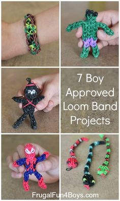 Seven Boy Approved Rainbow Loom Band Projects! Rainbow Loom is really fantastic & fun! Crafts For Boys, Projects For Kids, Art For Kids, Crafts To Do, Craft Projects, Arts And Crafts, Craft Ideas, Rainbow Loom Patterns, Rainbow Loom Bands