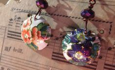 Domed Tin Floral Earrings made from a Vintage by oldandnewboutique
