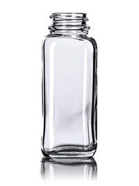 Spice Containers And Spice Container Lids  4 oz clear glass french square bottle 33-400 Item G261 case 120.  0.93 or 81.60 per case.