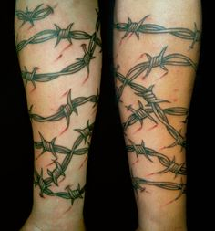 Tattoo Portfolio Black Grey And Red Barbed Wire Sleeve