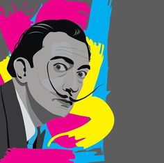 Getting inspiration from Dali by drawing him! #dali #salvadordali #design #illustration #painting #composer #sound