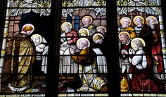 Cropredy-212 St Mary South-east window of St Fremund chapel. Dormition of St Mary. Does anyone know the maker?
