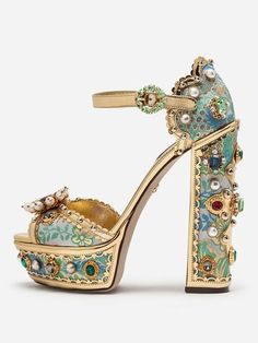 PALAIS Rhinestone-Embellished Block-Heels - Upper Material: Silk Insole Material: Sheepskin Lining Material: Genuine Sheepskin Our Style No. Harajuku, Wedding Shoes Bride, Super High Heels, Party Shoes, Blue Shoes, Me Too Shoes, Shoe Boots, Women's Boots, High Boots