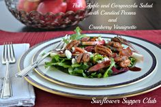 Sunflower Supper Club | Pear, Apple and Gorgonzola Salad with Candied Pecans and Cranberry Vinaigrette Dressing | https://sunflowersupperclub.com