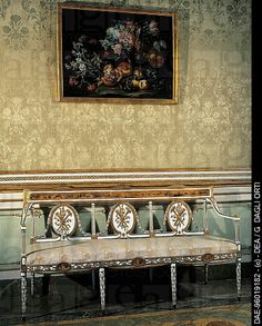Louis XVI_style gilded and painted settee, second half of the 18th century, Royal Palace of Caserta UNESCO World Heritage, Caserta , Campania , Italy