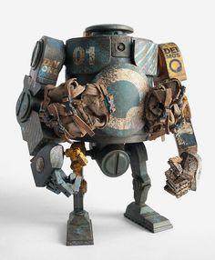 Ashley Wood (Australian artist) - ThreeA Toys robot. Ashley Wood, Metal Gear, 3d Character, Character Design, Steampunk Robots, Found Object Art, Robot Design, Machine Design, Vinyl Toys