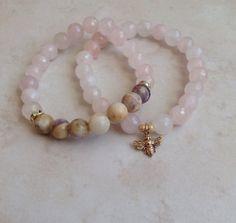 Fertility Bracelet Stack - Rose Quartz Lepidolite Honey Bee Charm Bracelet, Wrist Mala, Yoga Jewelry, Fertility Bracelet on Etsy, $40.00